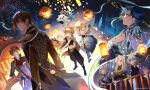 4boys 5girls absurdres aerial_fireworks aether_(genshin_impact) against_railing ahoge arm_on_shoulder arm_rest arm_tattoo armor artist_name asymmetrical_clothes bangs bare_shoulders bead_necklace beads bell black_footwear black_gloves black_pants blonde_hair blue_eyes blue_hair blue_pants boots braid braided_bangs braided_ponytail brown_coat brown_hair choker clenched_hands closed_mouth coat coattails commentary cowbell crossed_arms detached_sleeves diamond-shaped_pupils diamond_(shape) double_bun dress earrings elbow_gloves english_commentary eyebrows_behind_hair facing_away fireworks floating floating_hair flower frilled_gloves frilled_sleeves frills fur_trim ganyu_(genshin_impact) genshin_impact gloves goat_horns gradient_hair green_gloves green_hair hair_between_eyes hair_cones hair_flower hair_ornament hair_stick hairpin half_gloves halo halter_dress halterneck hand_on_hip hands_up high_collar highres horns jewelry keqing_(genshin_impact) knee_up lantern leaning light_smile long_hair long_sleeves looking_to_the_side looking_up lumine_(genshin_impact) mask mask_on_head medium_hair midriff multicolored_hair multiple_boys multiple_girls navel neck_bell necklace night ningguang_(genshin_impact) open_mouth orange_eyes orange_hair oyakorodesu paimon_(genshin_impact) pants paper_lantern parted_bangs partially_fingerless_gloves pendant ponytail profile puffy_pants purple_choker purple_hair railing red_eyes scarf short_hair short_hair_with_long_locks shoulder_armor single_braid single_detached_sleeve single_earring single_spaulder single_thighhigh sitting sky_lantern sleeve_cuffs sleeveless sleeveless_dress smile spaulders spikes stomach symbol-shaped_pupils tartaglia_(genshin_impact) tassel tassel_earrings tattoo thigh-highs thigh_boots twintails two-tone_hair upper_teeth vambraces violet_eyes vision_(genshin_impact) white_dress white_flower white_footwear white_hair white_legwear white_pants white_scarf xiao_(genshin_impact) yellow_eyes zhongli_(genshin_impact)