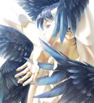 1boy arms_up black_wings blue_eyes close-up covered_mouth crossed_wrists dark_blue_hair expressionless eyelashes face facing_away feathered_wings feathers fingernails hands highres light light_particles looking_afar male_focus original palms profile rido_(ridograph) shaded_face shiny shiny_hair shirt simple_background upper_body white_background white_shirt wings