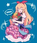 1girl absurdres aikatsu! aikatsu!_(series) bare_arms birthday black_vest blonde_hair blue_background blue_bow blush bouquet bow closed_eyes commentary crossed_arms english_text flower frilled_skirt frills hair_ribbon hairband highres holding holding_bouquet hoshimiya_ichigo layered_skirt long_hair open_mouth orange_flower orange_rose pink_skirt plaid plaid_skirt puffy_short_sleeves puffy_sleeves red_flower red_hairband red_ribbon red_rose ribbon rose short_sleeves simple_background skirt smile solo sparkle star_(symbol) uhouhogorigori upper_body vest yellow_flower yellow_rose