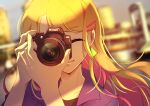 1girl absurdres black_shirt blonde_hair blurry blurry_background camera closed_eyes closed_mouth collarbone earrings eriko floating_hair hair_ornament hairclip highres holding holding_camera jacket jewelry long_hair multicolored_hair original pink_hair portrait purple_jacket shirt solo two-tone_hair