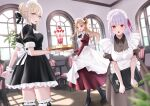 3girls alternate_costume artoria_pendragon_(all) bangs black_dress blonde_hair blush braid breasts cup dress earrings enmaided ereshkigal_(fate) fate/grand_order fate/stay_night fate_(series) french_braid grey_dress hair_bun hair_ribbon highres jewelry kama_(fate) large_breasts long_hair long_sleeves looking_at_viewer maid maid_headdress medium_breasts meltymaple multiple_girls parfait parted_bangs puffy_short_sleeves puffy_sleeves red_dress red_eyes ribbon saber_alter short_sleeves silver_hair tray two_side_up