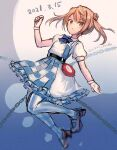 1girl abyssal_ship alice_(wonderland) alice_(wonderland)_(cosplay) alice_in_wonderland blue_background blue_neckwear bow bowtie chain checkered checkered_skirt commentary_request cosplay dated double_bun enemy_lifebuoy_(kancolle) full_body gloves highres kantai_collection light_brown_hair michishio_(kancolle) official_alternate_costume pantyhose pocket_watch short_sleeves short_twintails skirt solo striped striped_legwear twintails two-tone_dress watch white_gloves wss_(nicoseiga19993411)