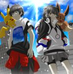 1boy 1girl bangs bike_shorts black_hair brown_eyes building closed_mouth clothes_around_waist clouds commentary_request day eevee from_below gen_1_pokemon gotcha! gotcha!_boy_(pokemon) gotcha!_girl_(pokemon) grey_skirt hands_in_pockets highres jacket knees lens_flare long_hair multi-tied_hair on_shoulder outdoors pants pikachu pokemon pokemon_(creature) pokemon_on_shoulder ria_(mari1101) shirt short_hair short_sleeves skirt sky smile sun zipper