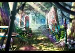 blurry blurry_foreground building bush commentary_request day depth_of_field flower forest grass letterboxed moss nature neon_trim no_humans original outdoors pink_flower scenery suishougensou tree white_flower