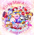6+boys 6+girls adeleine anniversary bandana_waddle_dee black_hair blonde_hair blue_hair coo_(kirby) dark_meta_knight daroach everyone fangs flamberge_(kirby) francisca_(kirby) hat highres kine_(kirby) king_dedede kirby kirby:_star_allies kirby_(series) magolor marx mask meta_knight multiple_boys multiple_girls pink_hair redhead reironsenzai ribbon_(kirby) rick_(kirby) smile susie_(kirby) taranza tongue tongue_out wings zan_partizanne