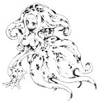 1girl breasts full_body highres ls-lrtha monochrome monster_girl no_nipples open_mouth original scylla sharp_teeth simple_background smile solo teeth tentacle_hair tentacles webbed_hands white_background