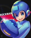 1boy :d absurdres android arm_cannon artist_name black_background blue_bodysuit blue_eyes blue_headwear bodysuit character_name commentary copyright_name dated glint hand_on_own_arm happy helmet highres looking_at_viewer male_focus open_mouth rockman rockman_(character) rockman_(classic) smile solo twitter_username upper_body upper_teeth weapon zero-go