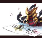 chikichi child_drawing closed_eyes commentary_request crayon dawn_(pokemon) drawing gen_4_pokemon giratina giratina_(origin) happy heart holding holding_crayon legendary_pokemon letterboxed musical_note no_humans outside_border paper pokemon pokemon_(creature) simple_background solo tentacles white_background