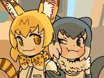 2girls :3 :t animal_ear_fluff animal_ears animal_print ap_dul backlighting bangs bare_shoulders blonde_hair blush_stickers bow bowtie breast_pocket close-up closed_mouth commentary commentary_request dot_nose elbow_gloves eye_contact eyebrows_visible_through_hair from_side fur_collar gloves grey_eyes grey_gloves grey_hair half-closed_eye hand_up kemono_friends light_brown_eyes looking_at_another looking_to_the_side multicolored_hair multiple_girls otter_ears otter_tail outdoors photo-referenced pocket portrait print_bow print_neckwear serval_(kemono_friends) serval_ears serval_print serval_tail shirt short_hair signature sleeveless sleeveless_shirt small-clawed_otter_(kemono_friends) striped_tail tail tareme two-tone_hair v-shaped_eyebrows white_hair white_shirt