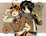 1boy 1girl adjusting_goggles adjusting_scarf ahoge back-to-back belt black_hair blue_scarf brown_background brown_gloves brown_jacket brown_vest chinese_commentary commentary_request corset emma_(yakusoku_no_neverland) fork gears gloves goggles goggles_on_head green_eyes grey_eyes hair_over_one_eye jacket jiyuu_(xjuyux) knife letterboxed locked_arms long_sleeves necktie open_clothes open_jacket open_mouth orange_hair pouch ray_(yakusoku_no_neverland) red_neckwear scarf short_hair smile steampunk striped striped_vest twitter_username upper_teeth vest wavy_hair yakusoku_no_neverland
