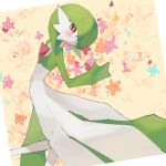 1girl bangs blue_flower blush bob_cut border chikichi closed_mouth colored_skin commentary_request flat_chest flower from_above gardevoir gen_3_pokemon green_hair green_skin hair_over_one_eye hand_up happy looking_at_viewer lying multicolored multicolored_skin on_side orange_flower pink_flower pokemon pokemon_(creature) red_eyes red_flower short_hair smile solo two-tone_skin white_border white_skin yellow_background yellow_flower