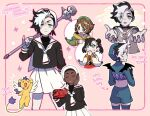 2boys 2girls arrow_(symbol) black_hair blush_stickers bright_pupils brown_eyes brown_hair cardcaptor_sakura closed_mouth commentary_request cosplay_request covering_mouth framed gen_4_pokemon gloria_(pokemon) grey_shirt hair_ribbon hands_together holding holding_microphone_stand korean_commentary korean_text long_sleeves looking_back marnie_(pokemon) microphone_stand multicolored_hair multiple_boys multiple_girls multiple_views open_mouth piers_(pokemon) pokemon pokemon_(game) pokemon_swsh raihan_(pokemon) ribbon rotom shirt shorts skirt smile sweatdrop thigh-highs translation_request two-tone_hair white_hair white_skirt wings zigzagdb