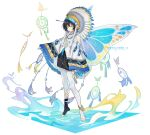 1girl absurdres anchun_(quail0503) bangs bare_shoulders black_hair bug butterfly butterfly_wings collar commentary dream_catcher full_body hair_between_eyes highres indian_clothes insect original pointy_ears repost_notice short_hair simple_background solo translation_request white_background white_legwear wings yellow_eyes