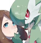 2girls bangs blue_eyes bob_cut brown_hair chikichi closed_mouth colored_skin commentary_request face gardevoir gen_3_pokemon green_hair green_skin hair_over_one_eye hand_on_another's_chin hand_up light_blush looking_at_another looking_to_the_side looking_up may_(pokemon) medium_hair multicolored multicolored_skin multiple_girls pokemon pokemon_(creature) pokemon_(game) pokemon_rse short_hair sidelocks simple_background sketch two-tone_skin upper_body white_background white_skin yuri