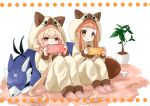 2girls :o alternate_costume animal_hood bangs blonde_hair boned_meat brown_hair carpet cat_hood concentrating cushion dog food futaba_anzu highres hood ichihara_nina idolmaster idolmaster_cinderella_girls long_hair matching_outfit meat multiple_girls pajamas playing_games rino_cnc sitting sleeping sparkling_eyes white_background yellow_eyes