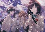 3boys 4girls bag bangs beige_jacket black_hair black_pants black_skirt brown_hair cardigan cherry_blossoms closed_eyes closed_mouth collared_shirt commentary crying dappled_sunlight diploma eyebrows_visible_through_hair flower graduation grey_eyes highres hyuuga_azuri light_rays long_hair long_sleeves looking_at_viewer medium_hair multiple_boys multiple_girls necktie open_mouth original outdoors pants petals pleated_skirt rose school_bag school_uniform shirt short_hair sidelocks skirt sunbeam sunlight symbol_commentary tears uniform violet_eyes white_shirt yellow_cardigan