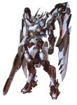 absurdres arm_cannon clenched_hand highres looking_down mecha mechanical_wings no_humans original science_fiction solo standing visor weapon white_background wings yang_youcai
