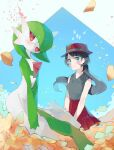 2girls arched_back bangs bare_shoulders black_hair black_shirt blue_background blue_eyes blush bob_cut breasts chikichi closed_mouth collared_shirt colored_skin commentary_request flat_chest flower gardevoir gen_3_pokemon green_hair green_skin hair_over_one_eye hands_together happy hat highres long_hair looking_at_viewer looking_to_the_side multicolored multicolored_skin multiple_girls open_mouth orange_flower petals pleated_skirt pokemon pokemon_(creature) pokemon_(game) pokemon_xy porkpie_hat red_headwear red_skirt serena_(pokemon) shirt shirt_tucked_in short_hair skirt sleeveless sleeveless_shirt small_breasts smile standing star_(symbol) swept_bangs tied_hair two-tone_skin v_arms white_skin