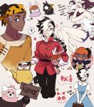 ! 2boys alternate_costume alternate_hairstyle arrow_(symbol) bewear black_hair black_pants blue_eyes blush braid braided_ponytail closed_mouth collared_shirt commentary_request crossdressing dress fang gen_6_pokemon gen_7_pokemon goomy highres holding holding_pokemon korean_commentary korean_text male_focus multicolored_hair multiple_boys open_mouth orange_headwear pants parted_lips piers_(pokemon) pokemon pokemon_(creature) pokemon_(game) pokemon_swsh raihan_(pokemon) shirt short_sleeves sweatdrop translation_request two-tone_hair white_hair white_shirt zigzagdb