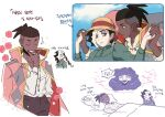 1girl 2boys black_hair braid braided_ponytail brown_hair brown_pants closed_eyes closed_mouth commentary_request dark_skin dark_skinned_male earrings hair_ribbon hand_up head_on_pillow highres holding_hands jewelry korean_commentary korean_text multicolored_hair multiple_boys opal_(pokemon) pants piers_(pokemon) pokemon pokemon_(game) pokemon_swsh raihan_(pokemon) ribbon shirt smile sparkle translation_request two-tone_hair under_covers undercut white_hair white_shirt zigzagdb