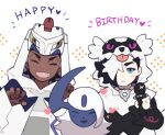 2boys absol black_hair blush claw_pose closed_eyes closed_mouth commentary_request dark_skin dark_skinned_male duraludon fang galarian_form galarian_zigzagoon gen_3_pokemon gen_8_pokemon hair_over_one_eye hands_up happy_birthday heart holding holding_microphone hood hood_up long_sleeves male_focus microphone multicolored_hair multiple_boys open_mouth piers_(pokemon) pokemon pokemon_(creature) pokemon_(game) pokemon_swsh raihan_(pokemon) smile two-tone_hair white_hair zigzagdb |d