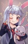 1girl ;q animal_ear_fluff animal_ears black_sailor_collar black_shirt blush brown_eyes closed_mouth collarbone commentary english_commentary grey_background hand_up highres long_hair long_sleeves looking_at_viewer miya_(miyaruta) neckerchief object_hug one_eye_closed original rabbit_ears red_neckwear sailor_collar school_uniform serafuku shirt short_eyebrows silver_hair sleeves_past_wrists smile solo starry_background stuffed_animal stuffed_bunny stuffed_toy thick_eyebrows tongue tongue_out upper_body v very_long_hair