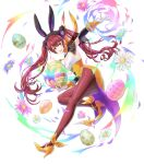 1girl animal_ears armpits bangs choker egg fake_animal_ears fire_emblem fire_emblem_awakening fire_emblem_heroes flower gloves hair_ornament high_heels highres holding kaya8 leg_up leotard lips long_hair looking_at_viewer looking_away official_art open_mouth pantyhose petals rabbit_ears red_eyes redhead see-through severa_(fire_emblem) shiny shiny_hair sleeveless smile solo strapless strapless_leotard tied_hair transparent_background twintails