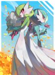 2girls bangs blue_background blue_hair blue_skin blue_sky blush bob_cut border bouquet chikichi colored_skin commentary_request day field flat_chest flower flower_field from_behind from_side gardevoir gen_3_pokemon green_hair green_skin hair_over_one_eye hand_up hands_up happy highres holding holding_bouquet holding_flower looking_at_viewer looking_back multicolored multicolored_skin multiple_girls open_mouth orange_flower outdoors outside_border petals pokemon pokemon_(creature) red_eyes red_flower short_hair sky smile standing two-tone_skin white_border white_skin yellow_flower