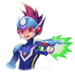 1boy :d absurdres artist_name blue_bodysuit blue_headwear bodysuit brown_eyes brown_hair commentary_request cropped_torso dated fire green_fire happy helmet highres hoshikawa_subaru_(rockman) looking_at_viewer male_focus open_mouth red_eyes rockman ryuusei_no_rockman simple_background smile spiky_hair teeth twitter_username upper_body visor warrock white_background zero-go