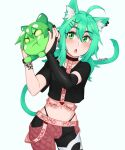 1girl :o ahoge animal_ears artist_name bangs belt black_choker black_nails blush bridal_gauntlets cat_ears cat_girl cat_tail choker collarbone commentary commission crop_top eyebrows_visible_through_hair green_eyes green_hair hair_between_eyes hair_ornament hands_up highleg highleg_panties highres holding indie_virtual_youtuber long_hair looking_at_viewer low_twintails midriff momo_mischief navel panties pink_belt pout rob_ishi short_sleeves solo tail twintails underwear x_hair_ornament