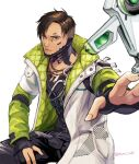 1boy apex_legends asian black_gloves black_pants black_shirt brown_eyes brown_hair crypto_(apex_legends) cyborg drone gloves green_sleeves hack_(apex_legends) hand_on_own_thigh jacket jewelry looking_up male_focus muraicchi_(momocchi) necklace open_hand pants partially_fingerless_gloves science_fiction shirt sitting solo undercut white_jacket
