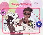 2boys alternate_costume blue_eyes brown_hair cake closed_mouth collar collarbone commentary_request earrings eye_mask food framed grey_collar hands_together happy_birthday heart heart_hands holding holding_tray jacket jewelry long_sleeves male_focus multicolored_hair multiple_boys piers_(pokemon) pokemon pokemon_(game) pokemon_swsh raihan_(pokemon) shirt splatoon_(series) tray two-tone_hair undercut white_hair zigzagdb
