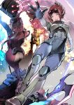 1boy 2girls absurdres apex_legends ass bodysuit breasts cane explosion explosive floating floating_hair fuse_(apex_legends) goggles goggles_on_head grenade highres holding holding_cane horizon_(apex_legends) jacket karory loba_(apex_legends) looking_ahead looking_at_viewer looking_back medium_breasts multiple_girls one_eye_covered red_jacket short_hair shuriken signature smile standing throwing twintails victorian white_hair
