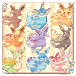 blue_eyes blush_stickers bow brown_eyes commentary_request eevee espeon flareon flower food framed gen_1_pokemon gen_2_pokemon gen_4_pokemon gen_6_pokemon glaceon heart jippe jolteon leafeon macaron no_humans paws pokemon pokemon_(creature) ribbon seashell shell sparkle sylveon toes umbreon vaporeon violet_eyes