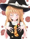 1girl absurdres bangs between_breasts black_dress black_headwear blood blood_stain blouse blush bow braid breasts closed_eyes closed_mouth commentary_request cookie_(touhou) dress eyebrows_visible_through_hair gen_3_pokemon hair_between_eyes hair_bow hat hat_bow highres kirisame_marisa long_hair looking_at_viewer medium_breasts muki_(munikichan) pokemon red_bow side_braid single_braid smile star_(symbol) suzu_(cookie) torchic touhou upper_body white_background white_blouse white_bow witch_hat