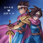 1boy 1girl absurdres arm_up belt black_hair blue_eyes cape chinyan circlet dragon_quest dragon_quest_iii earrings frown gloves gradient gradient_background highres jewelry looking_at_viewer roto serious short_hair sketch spiky_hair sword sword_behind_back tunic weapon weapon_on_back