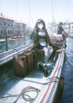 1boy 1girl 2others bangs black_hair boat brown_eyes building cigarette day doll_joints duplicate facing_viewer highres joints long_hair multiple_others original outdoors over-kneehighs reoen sitting smoking solo_focus suitcase thigh-highs water watercraft