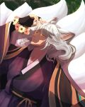 1boy absurdres animal_ears arms_up balle cou flower fox_boy fox_ears fox_tail grey_hair guardian_tales highres long_hair looking_away multiple_tails shadow solo tail yellow_eyes