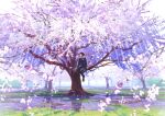 1girl backlighting black_legwear blue_serafuku blue_skirt cherry_blossoms commentary_request day grass in_tree loafers long_sleeves looking_to_the_side mocha_(cotton) original pantyhose petals sailor_collar scenery shoes sitting sitting_in_tree skirt solo spring_(season) tree