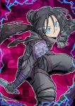 1girl apex_legends artist_name bangs black_bodysuit black_hair blue_eyes bodysuit clenched_hand electricity frown gloves grey_gloves grey_scarf hair_bun head_tilt holding holding_knife knife kunai looking_at_viewer mutsuki_riichi parted_bangs scarf solo v-shaped_eyebrows weapon wraith_(apex_legends)