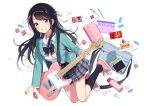 1girl :d absurdres bangs black_hair black_neckwear blazer blush bottle bow bowtie breasts cake candy cellphone electric_guitar eraser eyebrows_visible_through_hair food fork guitar hair_ornament hair_ribbon highres holding instrument jacket kneehighs long_hair long_sleeves looking_at_viewer notebook open_mouth original pen phone pleated_skirt pocky red_eyes ribbon school_uniform shirt shoes skirt smile swept_bangs teeth telecaster uniform water_bottle white_ribbon white_shirt yaruwashi