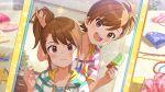 blush brown_hair dress futami_ami futami_mami idolmaster_million_live!_theater_days long_hair smile violet_eyes