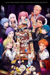 4girls 5boys blonde_hair blue_hair brown_hair byleth_(fire_emblem) byleth_(fire_emblem)_(male) candelabra candy candy_jar card champagne_flute cheesecake chicken_leg claude_von_riegan cup drinking_glass fingerless_gloves fire_emblem fire_emblem:_three_houses food garreg_mach_monastery_uniform gloves green_eyes green_hair highres hilda_valentine_goneril ignatz_victor leonie_pinelli looking_at_viewer lorenz_hellman_gloucester lysithea_von_ordelia marianne_von_edmund multiple_boys multiple_girls orange_eyes orange_hair pink_eyes pink_hair purple_hair raphael_kirsten short_hair sitting skirt smile the_game_of_life tsuko_(25mnts) twintails violet_eyes white_hair
