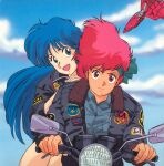 1980s_(style) 2girls blue_eyes blue_hair character_name clothes_writing day dirty_pair driving emblem ground_vehicle hand_on_another's_shoulder headband jacket kei_(dirty_pair) long_hair long_sleeves motor_vehicle motorcycle multiple_girls official_art open_mouth outdoors red_eyes redhead retro_artstyle short_hair sky space_craft yuri_(dirty_pair)