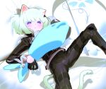 1boy absurdres androgynous animal_ears biker_clothes blush bulge cat_boy cat_ears cat_tail cravat earrings frilled_sleeves frills frown gloves green_hair half_gloves highres jewelry km_(ksolee1201) lio_fotia long_sleeves lying on_back pillow promare short_hair simple_background spread_legs stuffed_animal stuffed_fish stuffed_toy tail violet_eyes
