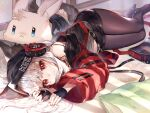 1girl :< animal_ears arknights bag bangs bare_shoulders bed_sheet black_gloves black_headwear black_skirt blush brown_legwear closed_mouth commentary eyebrows_visible_through_hair fingerless_gloves fox_ears fox_girl fox_tail frostleaf_(arknights) gloves headphones highres jacket long_hair looking_at_viewer lying miniskirt nail_polish navel ninjinshiru no_shoes off_shoulder on_bed on_side open_clothes open_jacket oripathy_lesion_(arknights) pantyhose pillow red_eyes red_jacket red_nails silver_hair skirt smile solo stuffed_animal stuffed_bunny stuffed_toy symbol_commentary tail