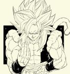 abs bangs biceps dragon_ball dragon_ball_gt fusion fusion_dance gogeta hand_on_hip highres homelanderrr looking_at_viewer metamoran_vest monkey_boy monkey_tail muscular muscular_male no_nipples pectorals saiyan shoulders simple_background smirk solo spiky_hair standing super_saiyan super_saiyan_4 tail
