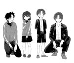 1girl 3boys ahoge brother_and_sister brothers child cosplay fate/zero fate_(series) father_and_son formal hair_ribbon long_hair matou_byakuya matou_byakuya_(cosplay) matou_kariya matou_kariya_(cosplay) matou_sakura matou_shinji multiple_boys ribbon ronpaxronpa short_hair shorts siblings skirt suit sweater turtleneck uncle_and_niece younger