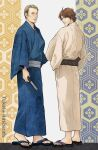 2boys blue_kimono brown_eyes brown_hair chiyo_(willgrahamlove) fan folding_fan hannibal_(tv_series) hannibal_lecter holding holding_fan japanese_clothes kimono looking_at_viewer looking_back male_focus multiple_boys sandals simple_background standing wide_sleeves will_graham