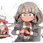 1girl :o bag bangs black_bow black_ribbon blush blush_stickers body_blush bow bowtie braid braided_bangs brown_eyes chibi commentary cookie dress_shirt drop_shadow embarrassed eyebrows_visible_through_hair food full-face_blush grey_jacket grey_skirt hair_between_eyes hair_bow hair_ribbon hands_on_own_chest hands_together hisakawa_nagi idolmaster idolmaster_cinderella_girls jacket long_hair long_sleeves looking_at_viewer low_twintails motion_lines notice_lines panicking parted_lips pink_bow pink_ribbon pov pov_hands puffy_sleeves raised_eyebrows red_bow red_neckwear ribbon sanpaku sasaki_rindou school_uniform shirt silver_hair simple_background skirt solo surprised sweatdrop swept_bangs twintails upper_body white_background white_day white_shirt